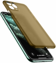 Apple iPhone 11 Pro Max Kılıf Mat Şeffaf Esnek Kaliteli Ultra İnce PP Silikon  - Gold