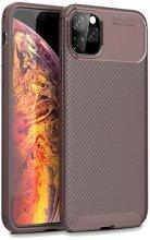 Apple iPhone 11 Pro Max Kılıf Karbon Serisi Mat Fiber Silikon Negro Kapak - Kahve