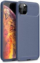 Apple iPhone 11 Pro Max Kılıf Karbon Serisi Mat Fiber Silikon Negro Kapak - Lacivert