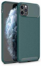 Apple iPhone 11 Pro Max Kılıf Karbon Serisi Mat Fiber Silikon Negro Kapak - Yeşil