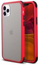 Apple iPhone 11 Pro Max Kılıf Renkli Köşeli Arkası Şeffaf Mat Tiron Kapak - Kırmızı