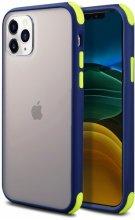 Apple iPhone 11 Pro Max Kılıf Renkli Köşeli Arkası Şeffaf Mat Tiron Kapak - Lacivert