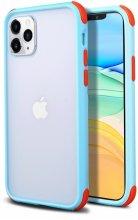 Apple iPhone 11 Pro Max Kılıf Renkli Köşeli Arkası Şeffaf Mat Tiron Kapak - Mavi