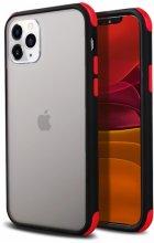 Apple iPhone 11 Pro Max Kılıf Renkli Köşeli Arkası Şeffaf Mat Tiron Kapak - Siyah