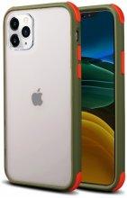 Apple iPhone 11 Pro Max Kılıf Renkli Köşeli Arkası Şeffaf Mat Tiron Kapak - Yeşil