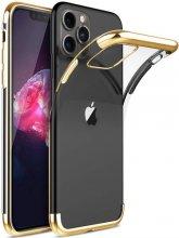 Apple iPhone 11 Pro Max Kılıf Renkli Köşeli Lazer Şeffaf Esnek Silikon - Gold