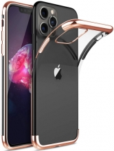 Apple iPhone 11 Pro Max Kılıf Renkli Köşeli Lazer Şeffaf Esnek Silikon - Rose Gold
