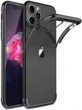 Apple iPhone 11 Pro Max Kılıf Renkli Köşeli Lazer Şeffaf Esnek Silikon - Siyah