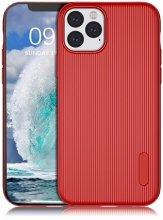 Apple iPhone 11 Pro Max Kılıf Silikon Çizgili Esnek Kaliteli Soft Tio - Kırmızı