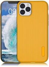 Apple iPhone 11 Pro Max Kılıf Silikon Çizgili Esnek Kaliteli Soft Tio - Sarı