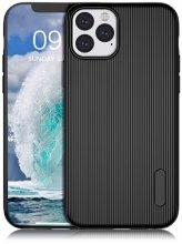 Apple iPhone 11 Pro Max Kılıf Silikon Çizgili Esnek Kaliteli Soft Tio - Siyah