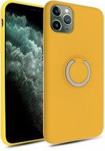 Apple iPhone 11 Pro Max Kılıf Silikon İnce Mat Esnek Parmak İzi Bırakmayan Plex Kapak - Sarı