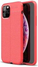Apple iPhone 11 Pro Max Kılıf Deri Görünümlü Parmak İzi Bırakmaz Niss Silikon - Kırmızı