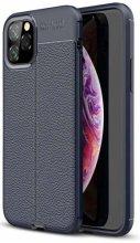 Apple iPhone 11 Pro Max Kılıf Deri Görünümlü Parmak İzi Bırakmaz Niss Silikon - Lacivert