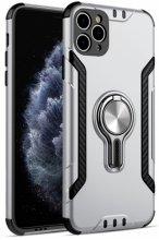Apple iPhone 11 Pro Max Kılıf Standlı Mıknatıslı Izgara Aparatlı Silikon Kapak - Gri