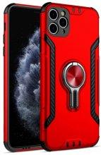 Apple iPhone 11 Pro Max Kılıf Standlı Mıknatıslı Izgara Aparatlı Silikon Kapak - Kırmızı