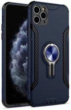 Apple iPhone 11 Pro Max Kılıf Standlı Mıknatıslı Izgara Aparatlı Silikon Kapak - Lacivert