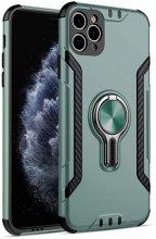 Apple iPhone 11 Pro Max Kılıf Standlı Mıknatıslı Izgara Aparatlı Silikon Kapak - Yeşil