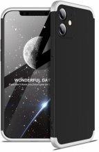 Apple iPhone 12 (6.1) Kılıf 3 Parçalı 360 Tam Korumalı Rubber AYS Kapak - Gri Siyah
