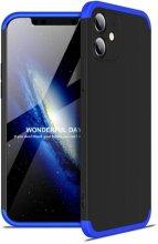 Apple iPhone 12 (6.1) Kılıf 3 Parçalı 360 Tam Korumalı Rubber AYS Kapak - Mavi Siyah