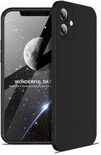Apple iPhone 12 (6.1) Kılıf 3 Parçalı 360 Tam Korumalı Rubber AYS Kapak - Siyah