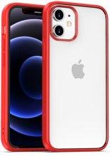 Apple iPhone 12 (6.1) Kılıf Arkası Cam Kenarları Silikon Hom Kapak - Kırmızı