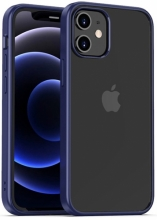 Apple iPhone 12 (6.1) Kılıf Arkası Cam Kenarları Silikon Hom Kapak - Mor