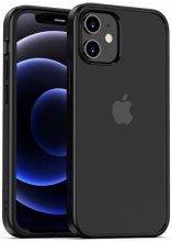 Apple iPhone 12 (6.1) Kılıf Arkası Cam Kenarları Silikon Hom Kapak - Siyah
