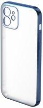 Apple iPhone 12 (6.1) Kılıf Benks Silikon Mat Electroplated 1.2mm Kapak - Mavi