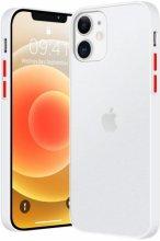 Apple iPhone 12 (6.1) Kılıf Exlusive Arkası Mat Tam Koruma Darbe Emici - Beyaz