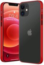 Apple iPhone 12 (6.1) Kılıf Exlusive Arkası Mat Tam Koruma Darbe Emici - Kırmızı