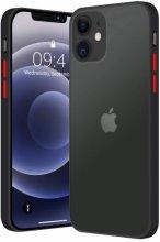 Apple iPhone 12 (6.1) Kılıf Exlusive Arkası Mat Tam Koruma Darbe Emici - Siyah