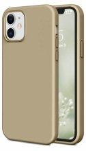Apple iPhone 12 (6.1) Kılıf İnce Mat Esnek Silikon - Gold