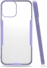 Apple iPhone 12 (6.1) Kılıf Kamera Lens Korumalı Arkası Şeffaf Silikon Kapak - Lila
