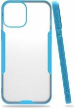 Apple iPhone 12 (6.1) Kılıf Kamera Lens Korumalı Arkası Şeffaf Silikon Kapak - Mavi