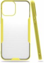 Apple iPhone 12 (6.1) Kılıf Kamera Lens Korumalı Arkası Şeffaf Silikon Kapak - Sarı