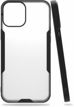 Apple iPhone 12 (6.1) Kılıf Kamera Lens Korumalı Arkası Şeffaf Silikon Kapak - Siyah