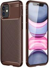 Apple iPhone 12 (6.1) Kılıf Karbon Serisi Mat Fiber Silikon Kapak - Kahve