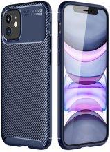 Apple iPhone 12 (6.1) Kılıf Karbon Serisi Mat Fiber Silikon Kapak - Lacivert