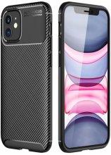 Apple iPhone 12 (6.1) Kılıf Karbon Serisi Mat Fiber Silikon Kapak - Siyah
