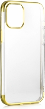 Apple iPhone 12 (6.1) Kılıf Renkli Köşeli Lazer Şeffaf Esnek Silikon - Gold