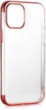 Apple iPhone 12 (6.1) Kılıf Renkli Köşeli Lazer Şeffaf Esnek Silikon - Kırmızı