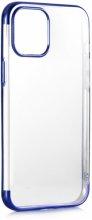 Apple iPhone 12 (6.1) Kılıf Renkli Köşeli Lazer Şeffaf Esnek Silikon - Mavi