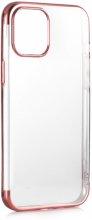 Apple iPhone 12 (6.1) Kılıf Renkli Köşeli Lazer Şeffaf Esnek Silikon - Rose Gold