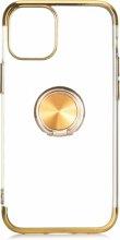 Apple iPhone 12 (6.1) Kılıf Renkli Köşeli Yüzüklü Standlı Lazer Şeffaf Esnek Silikon - Gold