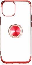 Apple iPhone 12 (6.1) Kılıf Renkli Köşeli Yüzüklü Standlı Lazer Şeffaf Esnek Silikon - Kırmızı