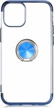 Apple iPhone 12 (6.1) Kılıf Renkli Köşeli Yüzüklü Standlı Lazer Şeffaf Esnek Silikon - Mavi