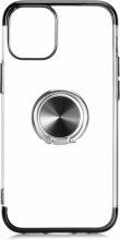 Apple iPhone 12 (6.1) Kılıf Renkli Köşeli Yüzüklü Standlı Lazer Şeffaf Esnek Silikon - Siyah