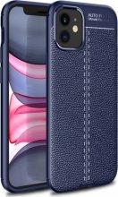 Apple iPhone 12 (6.1) Kılıf Rugan Serisi Silikon Deri Görünümlü Parmak İzi Bırakmaz - Lacivert