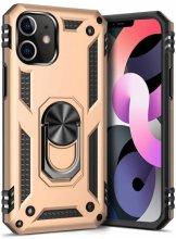 Apple iPhone 12 (6.1) Kılıf Shockproof Military Yüzüklü Standlı Vega Tank Kapak - Gold